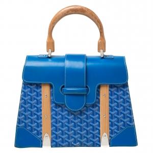 حقيبة جويارد يد علوية سيغون جلد وكانفاس مقوى زرقاء