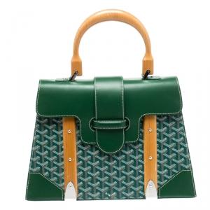 حقيبة جويارد سايغون MM بيد علوية جلد وكانفاس مقوى خضراء