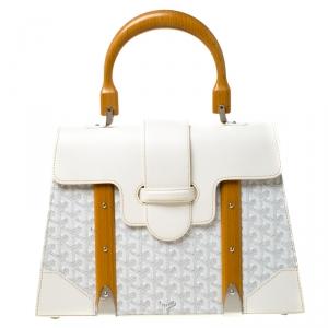 حقيبة جويارد أم أم سايجون يد علوية كانفاس مقوى و جلد أبيض