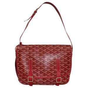 Goyard Red Goyardine Coated Canvas Belvedere MM Messenger Bag