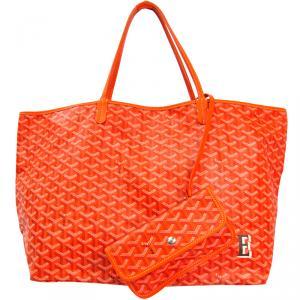 Goyard Orange Chevron Print Coated Canvas Leather St. Louis Martin Tote Bag