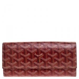 Goyard Goyardine Red Coated Canvas Flap Continental Wallet