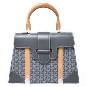 Goyard Grey Coated Canvas and Leather MM Saigon Top Handle Bag