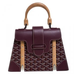 Goyard Burgandy Coated Canvas and Leather PM Saigon Top Handle Bag