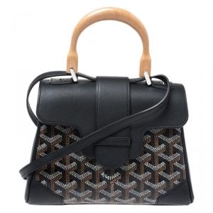 Goyard Black Goyardine Canvas and Leather Mini Saigon Top Handle Bag