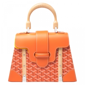 Goyard Orange Coated Canvas and Leather PM Saigon Top Handle Bag