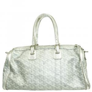 Goyard Silver Leather Goyardine Croisière 40 Bag