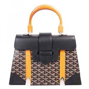 Goyard Black Coated Canvas and Leather MM Saigon Top Handle Bag