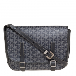 Goyard Grey Goyardine Coated Canvas and Leather Belvedere MM Saddle Bag