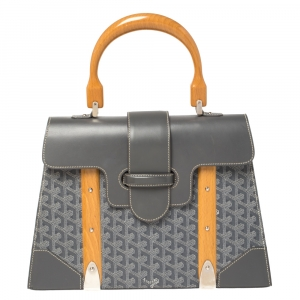 Goyard Grey Coated Canvas and Leather MM Saigon Top Handle Bag