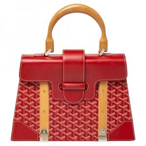 Goyard Red Goyardine Coated Canvas and Leather Saigon Top Handle Bag
