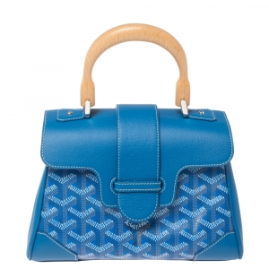 Goyard Blue Goyardine Coated Canvas And Leather Mini Saigon Top Handle Bag
