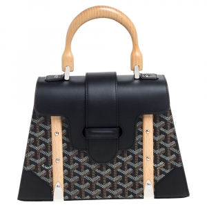 Goyard Black Goyardine Coated Canvas and Leather PM Saigon Top Handle Bag