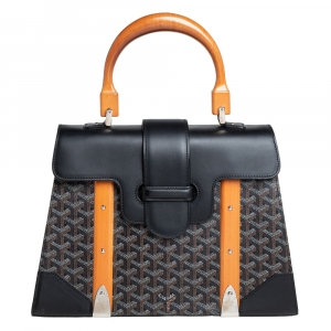 Goyard Black Goyardine Coated Canvas and Leather Saigon MM Top Handle Bag