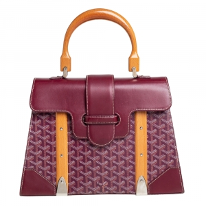 Goyard Burgundy Goyardine Coated Canvas and Leather Saigon MM Top Handle Bag