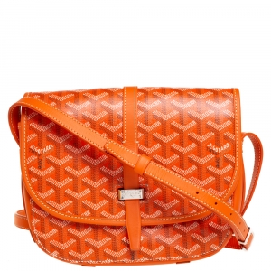Goyard Orange Goyardine Coated Canvas and Leather Belvedere II PM Bag