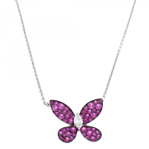 Graff Butterfly Pink Sapphire Diamond 18K White Gold Pendant Necklace