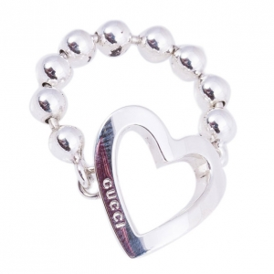 Gucci Silver Heart Chain Ring Size 55
