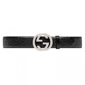 Gucci Black Guccissima Leather Belt Size 95CM