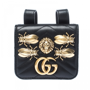 Gucci Black GG Marmont Matelasse Leather Animal Stud Belt Accessory