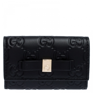 Gucci Black Guccissima Leather Bow Key Holder Case