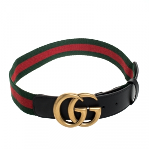 Gucci Multicolor Fabric and Leather Web GG Buckle Belt 85cm