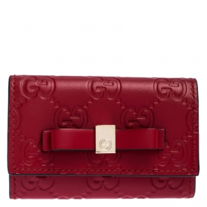 Gucci Red Guccissima Leather Bow 6 Key Holder