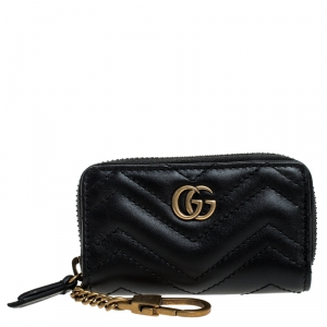 Gucci Black Matelasse Leather GG Marmont Key Case