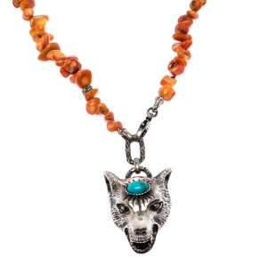 Gucci Anger Forest Wolf Head Orange Coral Silver Long Pendant Necklace