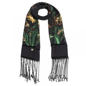 Gucci Black Vanily Iris Print Fringed Silk Georgette Scarf