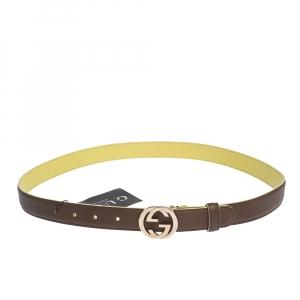 حزام غوتشي إبزيم جي متشابك جلد بني 95 سم