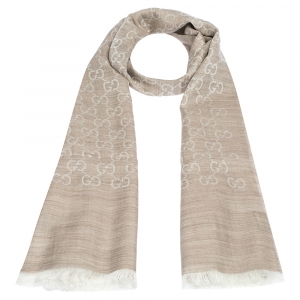 Gucci Cream & Beige Wool and Silk Blend Fringed Stole