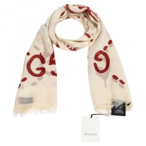 Gucci Cream and Red GG Ghost Print Modal & Silk Blend Scarf