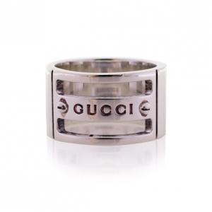 Gucci Silver Band Cutout Ring Size 53