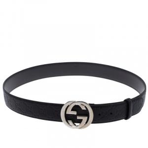 Gucci Black Guccissima Leather Interlocking G Buckle Belt 90CM