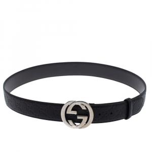 Gucci Black Guccissima Leather Interlocking G Buckle Belt 85CM