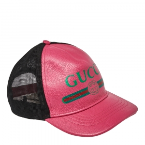 Gucci Pink Leather Logo Baseball Cap S
