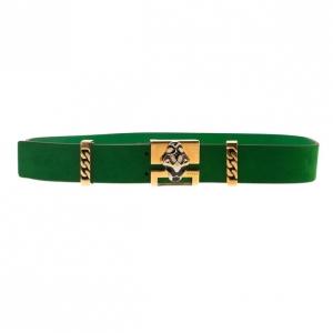 Gucci Green Suede Tiger Buckle Belt 90CM