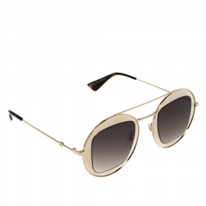 Gucci Gold/Brown GG0105S Gradient Round Sunglasses