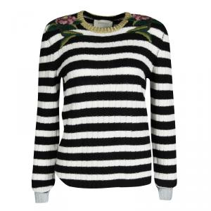 Gucci Monochrome Striped Floral Embroidered Cashmere and Wool Sweater L