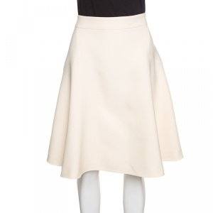 Gucci Cream Wool and Silk High Waist A-Line Skirt L