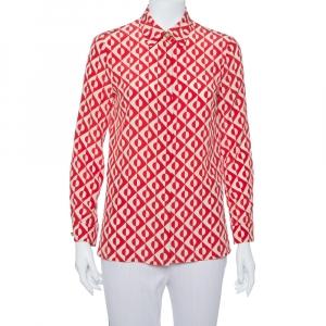 Gucci Red & Cream Silk Geometric Print Button Front Shirt S