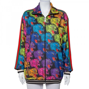 Gucci Multicolor Panther Face Printed Jersey Technical Jacket XS