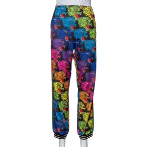 Gucci Multicolor Panther Face Printed Jersey Technical Jogger Pants S