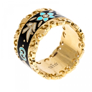 Gucci Icon Floral Black Enamel 18K Yellow Gold Band Ring Size 51