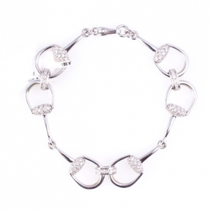 Gucci Horsebit 18 K White Gold Diamond Bracelet