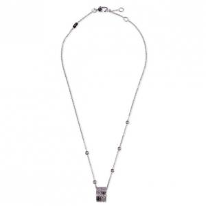 Gucci 18 K White Gold and Diamonds Icon Pendant Necklace