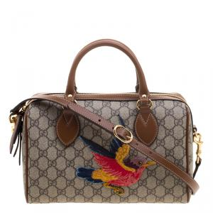 Gucci Beige/Brown GG Supreme Canvas Limited Edition Bird Boston Bag