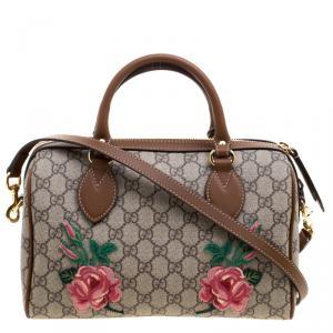 Gucci Beige/Brown GG Supreme Canvas Limited Edition Floral Boston Bag