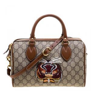 Gucci Beige/Brown GG Supreme Canvas Limited Edition Tiger Boston Bag